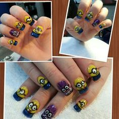 Minion nails done with gel polish.  By Kellie
