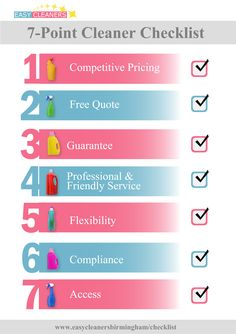 7-point checklist for choosing the right cleaner.   http://www.easycleanersbirmingham.co.uk/7-reasons-for-using-easy-cleaners-birmingham.html