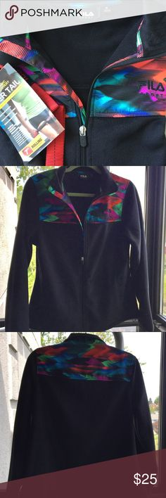 FILA SPORT Women's Fabric Fleece Jacket NWOT! Never worn! Received as birthday gift! This brightly accented, cozy women's fleece keeps you warm on the go! Perfect for those early AM workouts at the gym! Product Features: multi-color fabric overlay;front zipper;2 pockets;semi-fitted;long sleeves;100% polyester. SUPER SOFT! Imported. Fila Jackets & Coats