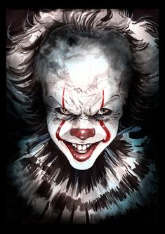 "johnny-dynamo: ""Pennywise by Sebastian Navas "" Clown Pennywise, Pennywise The Dancing Clown, Pennywise Painting, Le Clown, Creepy Clown, Arte Horror, Horror Art, Horror Books, Adashino Benio"