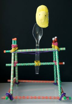 Awesome Peeps activity for kids. Make Peeps catapults. Brilliant STEM activity for Easter or spring with elementary kids! activities for teens Peep Catapults - Playdough To Plato Activities For Teens, Steam Activities, Spring Activities, Science Activities, Science Projects, Science Experiments, Science Ideas, Science Crafts, Preschool Science