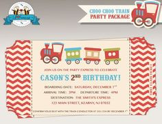 Choo-Choo Train Birthday Party invitation - Train Ticket Invite
