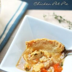 Low Carb Chicken Pot Pie Recipe – Gluten Free Recipe Main Dishes with chicken stock, cooked chicken, sweet potato squash, kale, fresh thyme, garlic powder, paprika, sharp cheddar cheese, xanthan gum, almond flour, salt, xanthan gum, butter, shredded sharp cheddar cheese, eggs