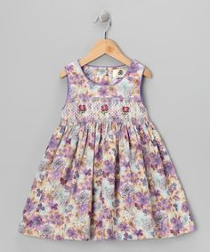 Take a look at this Lavender Flower Smocked Corduroy Dress - Toddler & Girls by Lil Cactus on #zulily today!