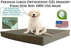 Extra Extra Large Dog Beds  XXL Orthopedic Gel Memory Foam Pet Bed  55 x 37 x 45   100 Made in USA Best XXL Luxury Large Breed Washable Pet Bed You Can Buy  4 LB Memory Foam  Great Puppy Bed Too  Introductory Price Khaki  Tan Microsuede -- Details can be found by clicking on the image.