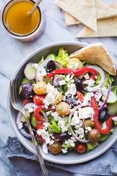 Salad with Baby Potatoes - Taste Love and Nourish Greek Salad with Baby Potatoes-if you love Zoe's Kitchen's Greek Salad, you need this easy recipe! Makes a great lunch or dinner! Beef Recipes, Whole Food Recipes, Healthy Recipes, Vegetarian Recipes, Vegetarian Salad, Drink Recipes, Healthy Eating Tips, Healthy Nutrition, Healthy Food