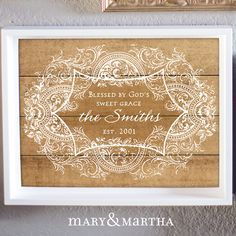Have you seen our God's Sweet Grace Canvas? Personalize it with YOUR family name! Order from my website, or comment here and I'll help you place an order! http://www.mymaryandmartha.com/SMERRITT/
