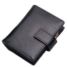Sale 23% (29.47$) - Genuine Leather Short Wallets Candy Color Hasp Purse Card Holder Coin Bags