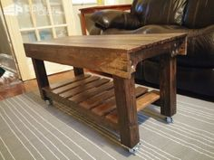 """#LivingRoom, #PalletCoffeeTable, #PalletTable, #RecyclingWoodPallets This Pallet Coffee Table Has Casters! I built the overall dimensions as39 3/4"""" by 16 1/4"""" (top) and 27"""" tall. This doesn't include the casters, which add 2 1/2"""". I made this tabletaller than a typical coffee table. We will use it mainly when we"""