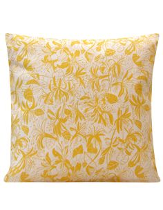 Honey Suckle Cushion, yellow,cotton canvas, made in Britain