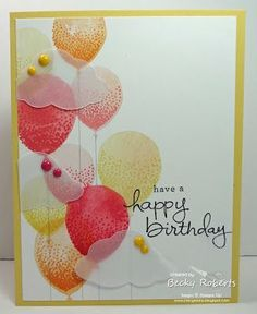 Another fun balloon card in bright cheery colors! This one has soft vellum clouds.  Cardstock:  So Saffron, Whisper White, Vellum CardstockStamp Set:  Balloon Creations, Endless Birthday WishesAccesso