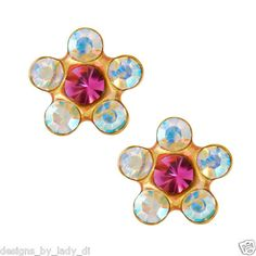 14kt Yellow Gold 5mm Rainbow Daisy Ear Piercing Earrings Studex System 75