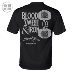 b1cfe560a4d Blood Sweat And Iron Brass Knuckles Dumbbell Weightlifting Dri Fit T Shirt  Black Powerlifting Shirts
