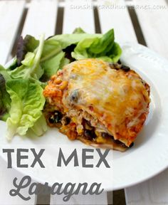 Need a fast and easy spin on your typical Taco Tuesday? This Tex-Mex Lasagna is a crowd pleaser, inexpensive and so simple to make! You can easily tailor it to whatever ingredients you have on hand! Lunch Recipes, Beef Recipes, Great Recipes, Dinner Recipes, Cooking Recipes, Favorite Recipes, Dinner Ideas, Mexican Dishes, Mexican Food Recipes