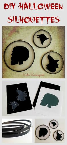 Thrifted, vintage embroidery hoops + sheer, gossamer fabric + felt = eerie yet elegant Halloween profile silhouettes. This is a super easy and inexpensive DIY craft project that anyone can do! #SadieSeasongoods