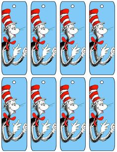Cat in the Hat .... free to use bookmarkers