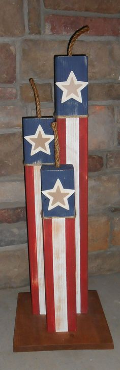 Fireworks freedom 4th of july porch decor Holiday decor home decor military patriotic wood blocks summer