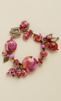 Bracelet with Kato Polyclay™ Beads, Swarovski Crystal Beads and Brass Components - Fire Mountain Gems and Beads