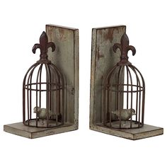 2 Piece Birdcage Bookend Set
