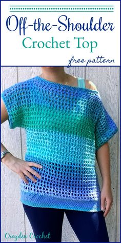 "Off-The-Shoulder Crochet Top     ""Crochet this super easy and breezy crochet top. The pattern features a wide and generous head opening for an off-the-shoulder"