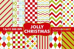 Digital Papers Jolly Christmas Patterns By Sonya DeHart Design