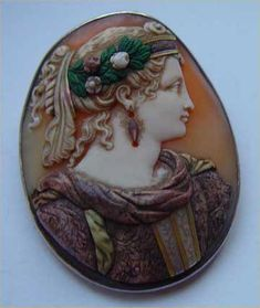Museum Quality Rare And Fine Commasso Cameo Of Hera Or The Goddess Of Fortune.  There is Mother Of Pearl In The Hair And Green Agate Flowers, The Dress Is Carved Agate With Pearl.  c. 1860