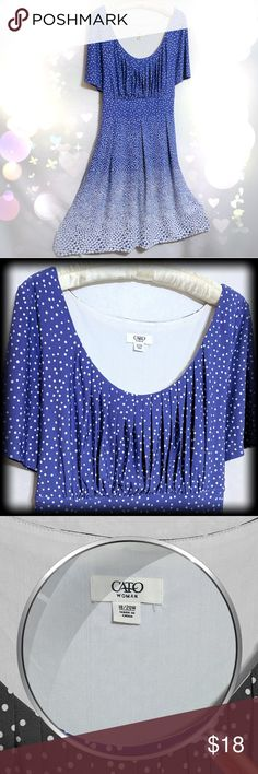 Blue & White Ombre Polkadot Dress Cato Woman Sz 18 I hate to give this dress up! Are you a Polkadot lady? Do you have the attitude to pull off a dress like this? It requires that special kind of woman. Polkadot's aren't for everyone, I understand. This dress runs just a bit small I think. I was a 14/16 when I wore it but I don't like clothes to hug my body so I size up.  The neckline is very flattering and gentle A-line Ombre color is lovely! Pair with nude high heels, sparkling earrings…