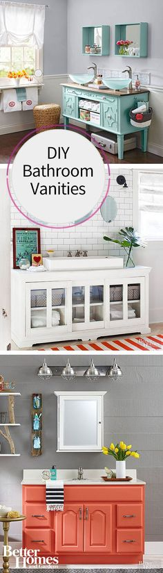 Transform media centers, cabinets, desks, tables and more into beautiful bathroom vanities. Or, DIY your existing vanity with a new coat of paint or other embellishments. Your sink and storage will stand out beautifully with these lovely upgrades to your space. Check out our inspiration ideas that will be perfect for your next project.