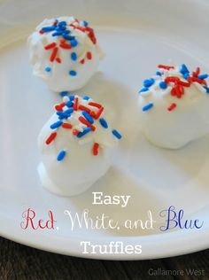 Easy Red, White, and Blue Truffles! The perfect last minute patriotic treat! -- Tatertots and Jello