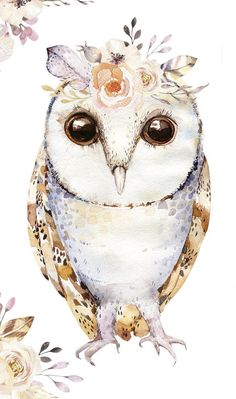 Hand Drawn watercolor owlsfeather and flower. Watercolor Paintings Of Animals, Animal Paintings, Animal Drawings, Owl Drawings, Owl Png, Owl Feather, Owl Quilts, Owl Illustration, Felt Owls