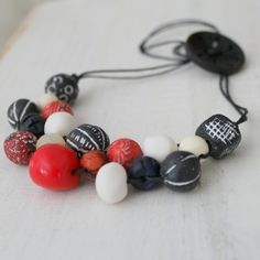Red White and Black Bib Necklace by earlybirdcreations on Etsy