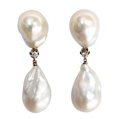 Baroque Pearl Diamond Drop Earrings | From a unique collection of vintage drop earrings at http://www.1stdibs.com/jewelry/earrings/drop-earrings/