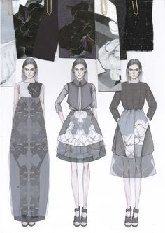 awesome Fashion Design Sketchbook - printed dress design illustrations & fabric swatches; fashion portfo... Fashion designers
