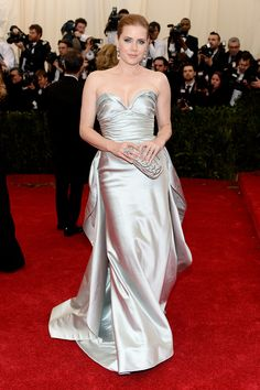 Amy Adams slinked into the Met Gala in a sleek silver gown and clutch to match.