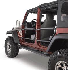 Olympic 4X4 Products Front & Rear Safari Doors For 07-11 Jeep® Wrangler Unlimited JK 4 Door Quadratec Part No: 11146.41X0  Choose a Color:  Rubicon Black $299.99