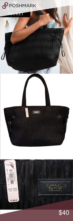 NWT Victoria's Secret Big Black Tote This is the perfect beach tote! Get it now before it's gone:)  If you have any questions, please don't hesitate to ask. Victoria's Secret Bags Totes