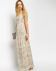 Enlarge Needle & Thread Embellished Tiered Petal Maxi Dress. Stunning lace dress with beading and sequins. Super vintage/boho vibe. More classic than anything. $473