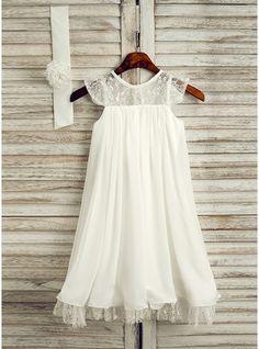 Vestidos princesa/ Formato A Comprimento médio Vestidos de Menina das Flores - Tecido de seda Sem magas Decote redondo com Renda