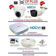 1 MP HD CCTV Cameras 4 with 8Ch. HD DVR Kit with All Accessories-CPPLUS
