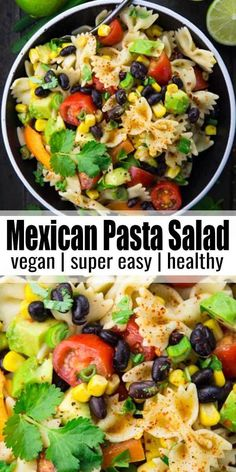 Vegan pasta salad- Veganer Nudelsalat This pasta salad with black beans, avocado and corn is one of my favorite recipes. Mexican recipes just always work ! You can find more vegetarian recipes and vegan recipes at veganheaven. Pasta Salad Recipes, Healthy Salad Recipes, Vegan Recipes Easy, Mexican Food Recipes, Whole Food Recipes, Vegetarian Recipes, Cooking Recipes, Whole Foods, Vegetarian Pasta Salad