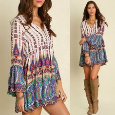 Umgee USA Boho Bell Sleeve V-Neck Paisley Border Print Peasant Tunic - Dress S-L #UmgeeUSA #Tunic #SummerBeach