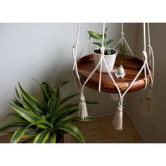 Natural Cotton Hanging Table, White Hanging Planter, Macrame Plant Hanger, Rope…