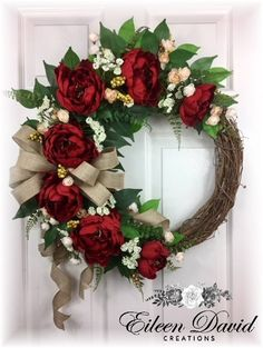 Red Peonies on a Grapevine Wreath Red Peonies Spring Wreath Wreath Crafts, Diy Wreath, Grapevine Wreath, Wreath Ideas, Tulle Wreath, Burlap Wreaths, Door Wreaths, Holiday Wreaths, Christmas Tree Decorations