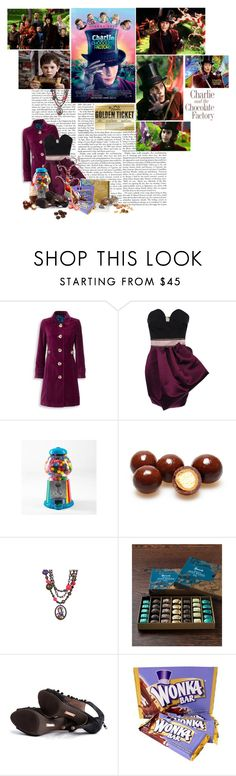 """Charlie and the Chocolate Factory"" by the-sunflower ❤ liked on Polyvore featuring Burton, Boden, Roksanda Ilincic, Dylan's Candy Bar, Tarina Tarantino, Harrods, willy wonka, chocolate factory, charlie and the chocolate factory and charlie"