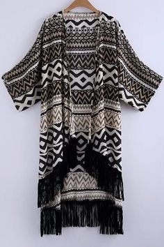 Printed Batwing Sleeve Long Kimono Blouse