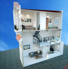 Narrow House Designs, Small House Design, Modern House Design, House Layout Plans, House Layouts, House Floor Plans, Loft House, Sims House, Home Room Design