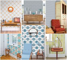 Mixture of Layla Faye wallpapers www.laylafaye.com Retro modern and mid century designs