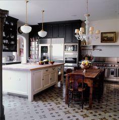 Traditional Kitchen with Black Cabinets - ELLEDecor.com