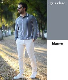 Este par es un clásico cuando se trata de un traje gris y camisa blanca. Para un look más relajado, invierte la combinación y lleva un pantalón blanco con un jersey gris.