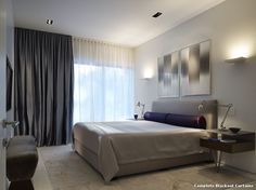 Complete Blackout Curtains with Contemporary Bedroom by Wheeler Kearns Architects